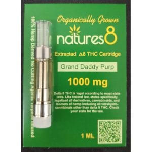 Natures8 Delta 8 Vape Cartridge - 1000mg Grand Daddy Purp