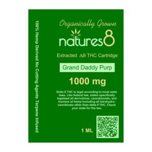 Natures8 Delta 8 Vape Cartridge - 1000mg Grand Daddy Purp Card