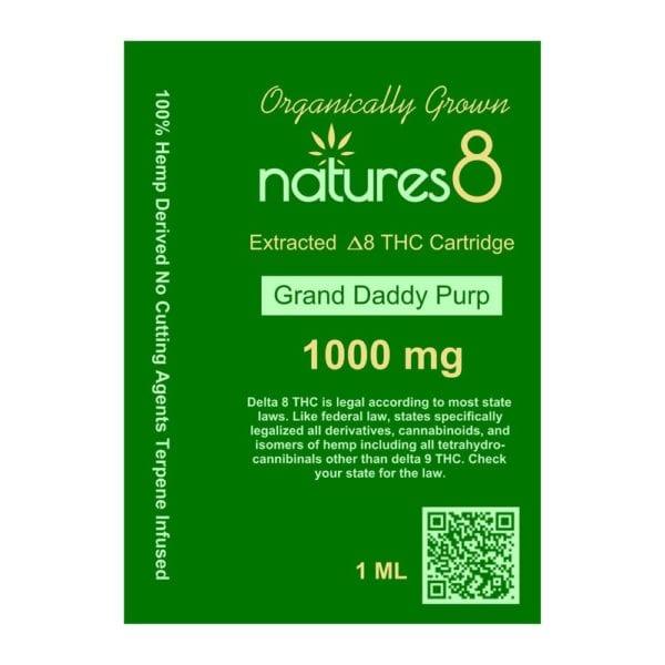 Natures8 Delta 8 Vape Cartridge - 1000mg Grand Daddy Purp Card