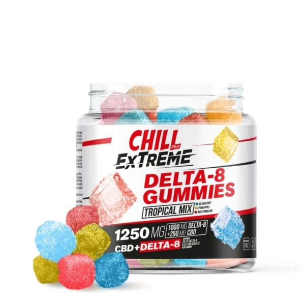 Chill Plus Extreme 20mg Delta 8 Gummies - Tropical Mix - 1250X 50 Count