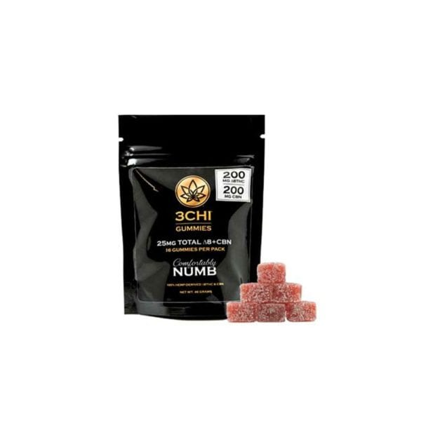 3Chi Delta 8 THC plus CBN Comfortably Numb Gummies - 25mg 16 Count