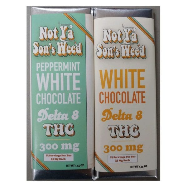 Not Ya Sons Weed White Chocolate Bar Group