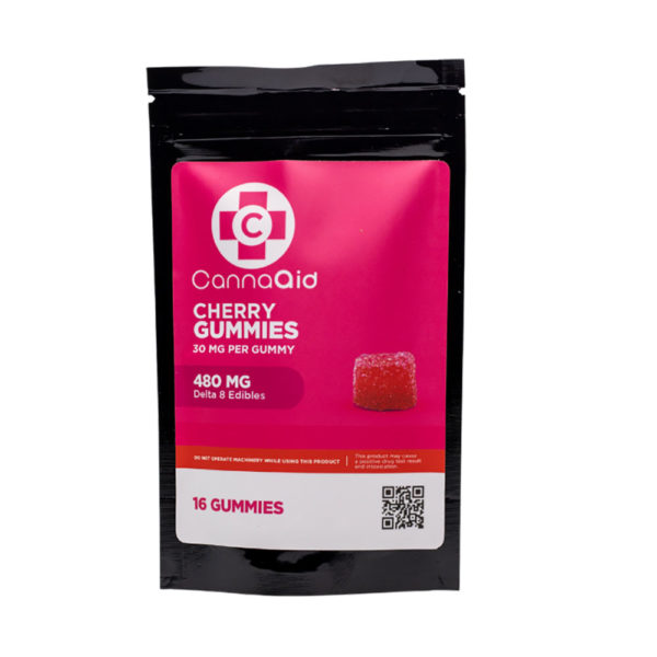 CannaAid Delta 8 Gummies - Cherry Gummies 30mg 16 Count