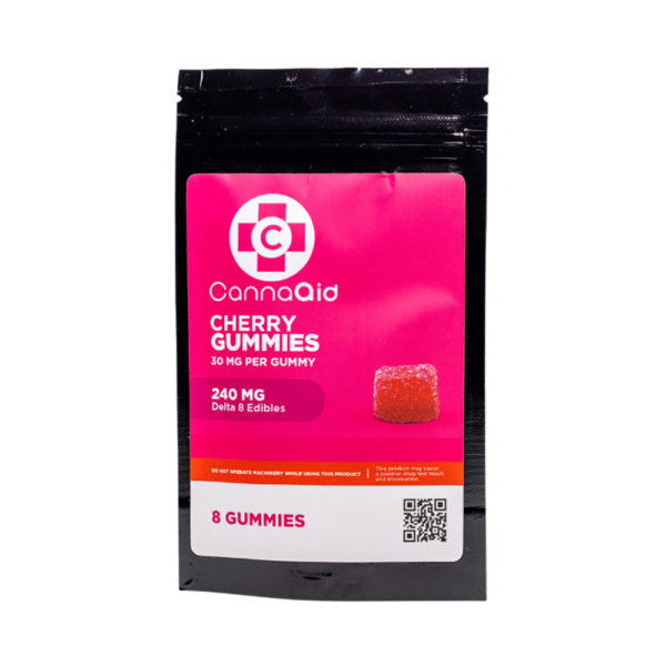 CannaAid Delta 8 Gummies - Cherry Gummies 30mg 8 Count